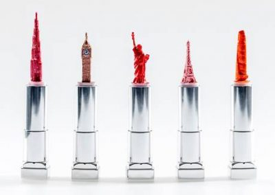Lipstick Sculptures by Hedley Wiggan
